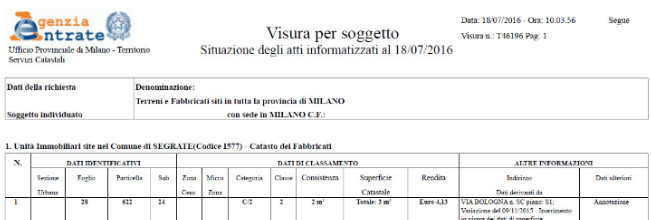 Visura catastale online consultazione dei documenti catastali for Visura storica catastale